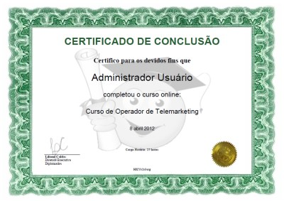 Certificado do curso online
